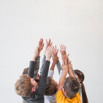 children-with-their-hands-up_23-2148022653