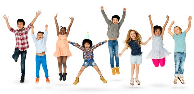 diverse-group-kids-jumping-having-fun_53876-27982